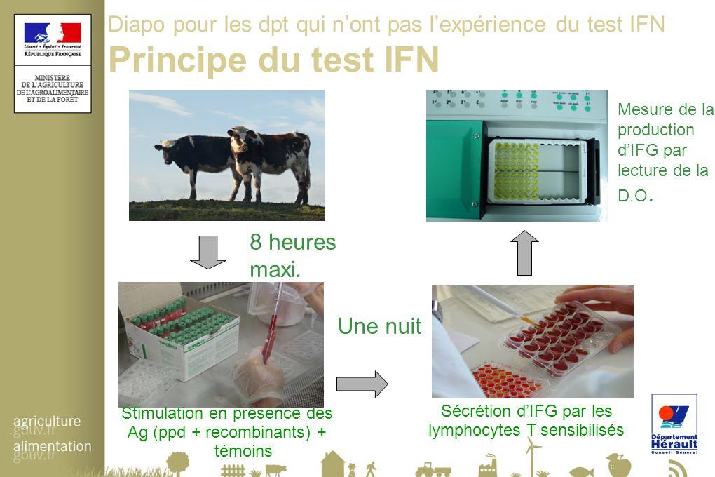 Diapo pour les dpt qui n'ont pas l'expérience du test IFN Principe du test IFN