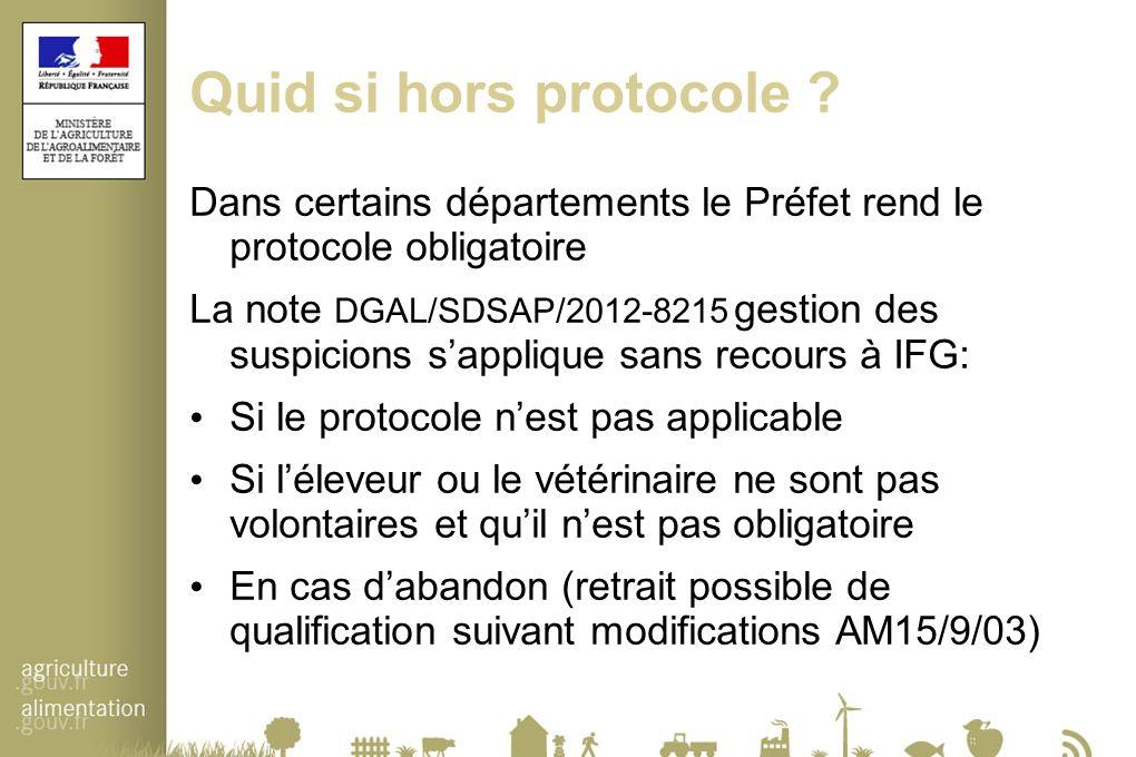 Quid si hors protocole Dans certains départements le Préfet rend le protocole obligatoire.