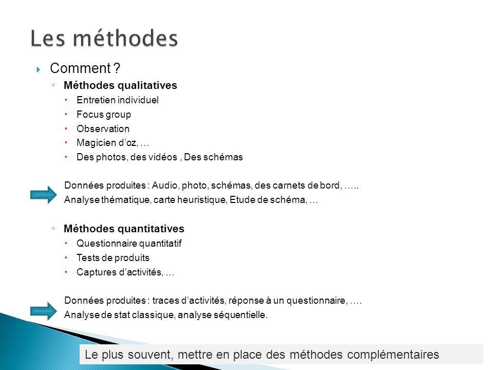Les méthodes Comment Méthodes qualitatives. Entretien individuel. Focus group. Observation. Magicien d'oz, …