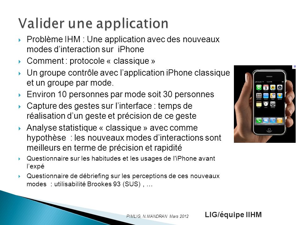 Valider une application
