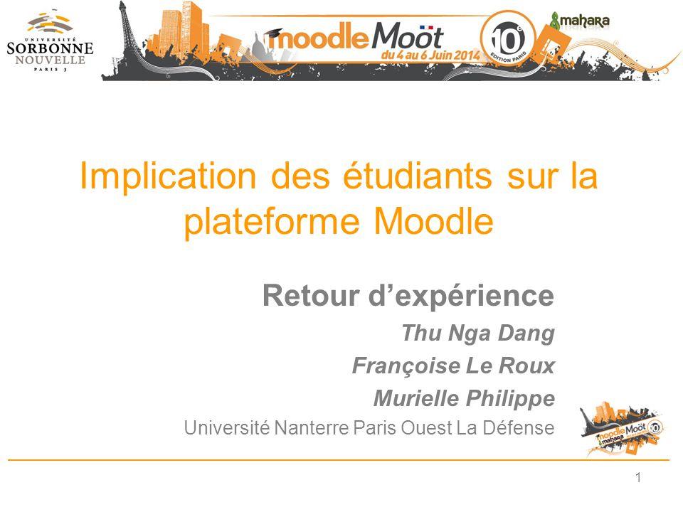 Implication des étudiants sur la plateforme Moodle