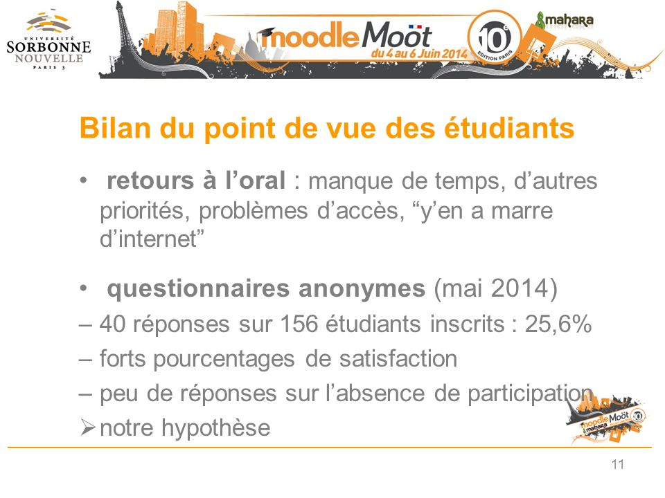 Bilan du point de vue des étudiants