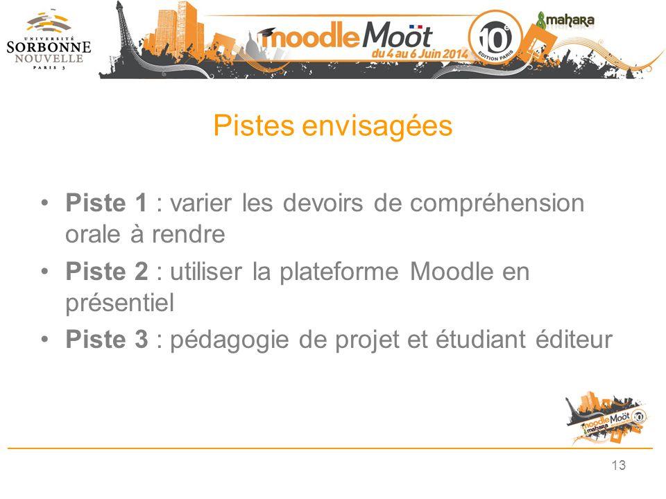 Pistes envisagées Piste 1 : varier les devoirs de compréhension orale à rendre. Piste 2 : utiliser la plateforme Moodle en présentiel.