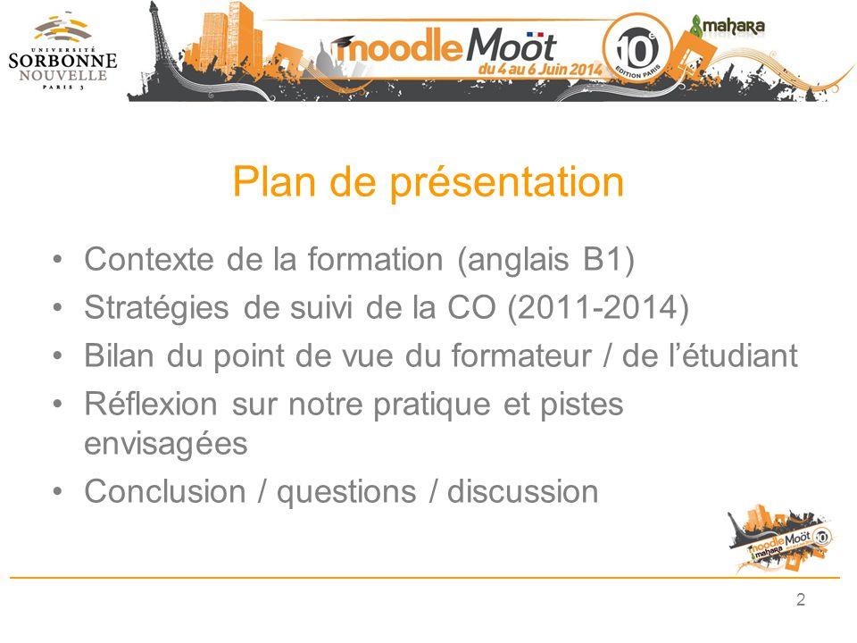 Plan de présentation Contexte de la formation (anglais B1)
