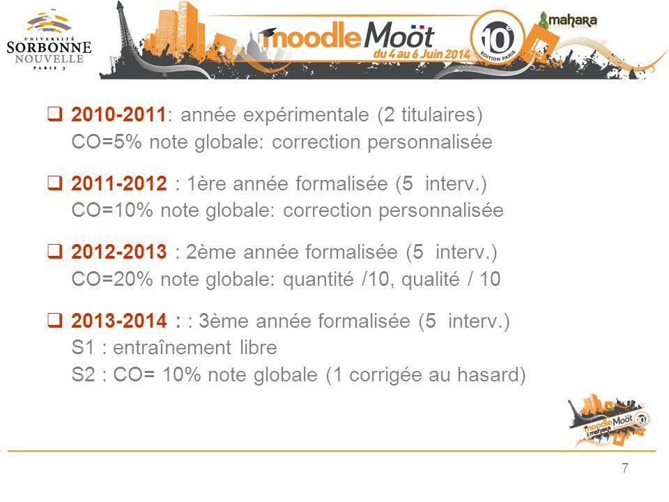 2010-2011: année expérimentale (2 titulaires)