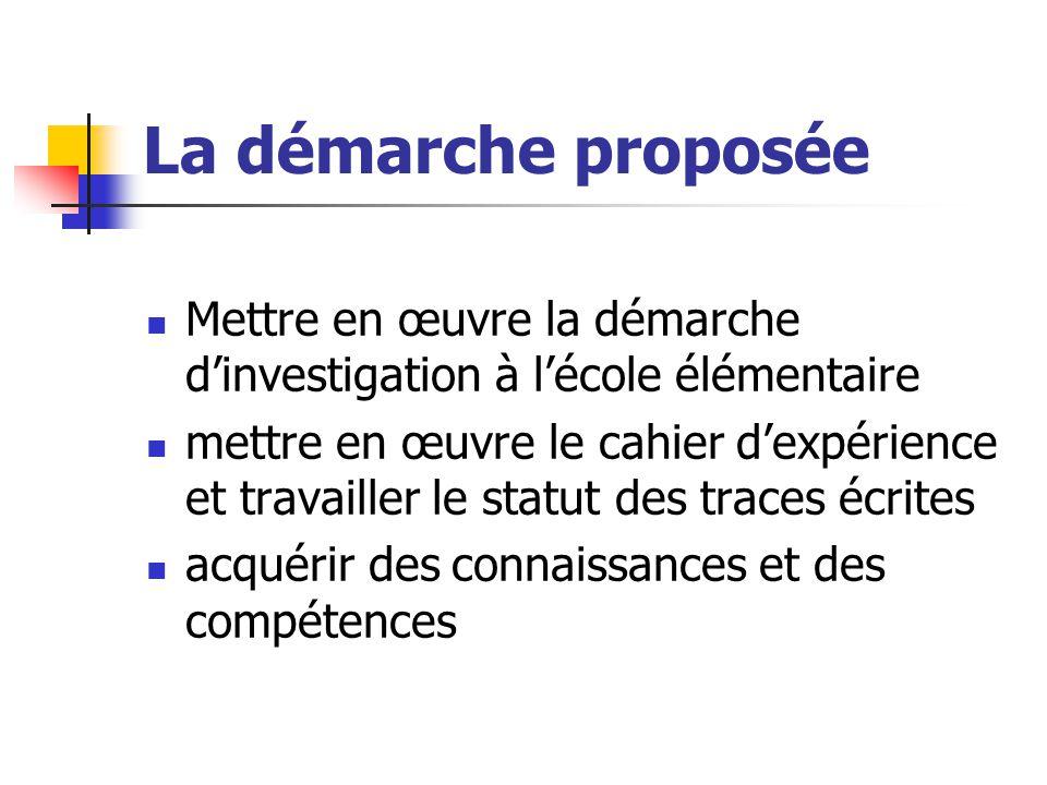 La démarche proposée Mettre en œuvre la démarche d'investigation à l'école élémentaire.