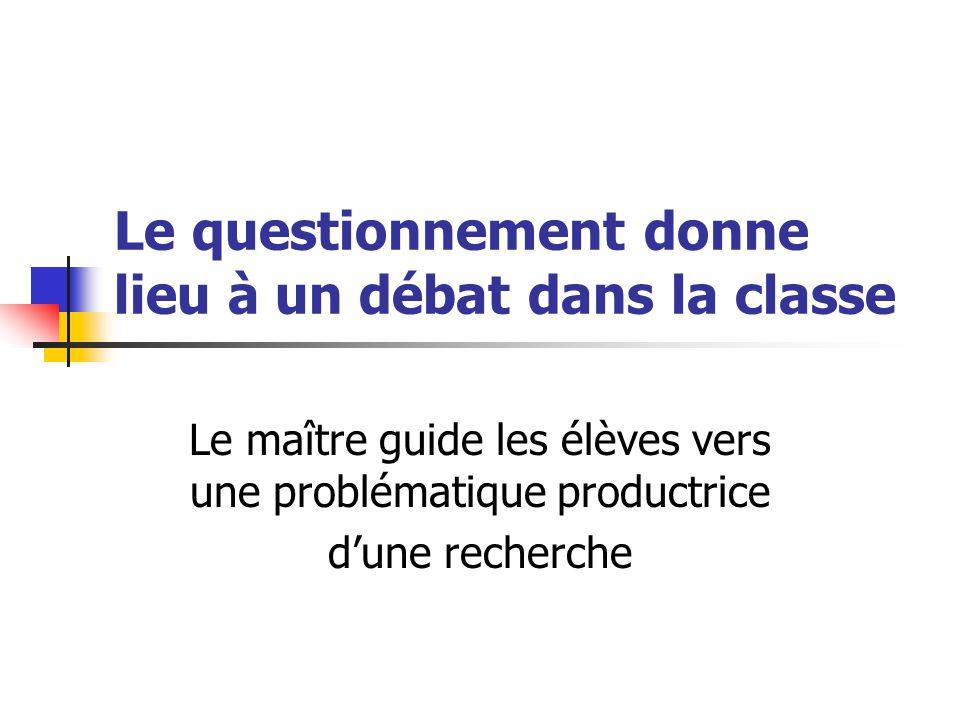 Le questionnement donne lieu à un débat dans la classe