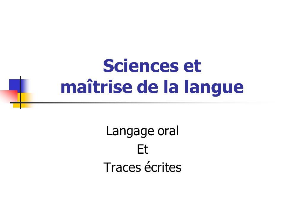 Sciences et maîtrise de la langue