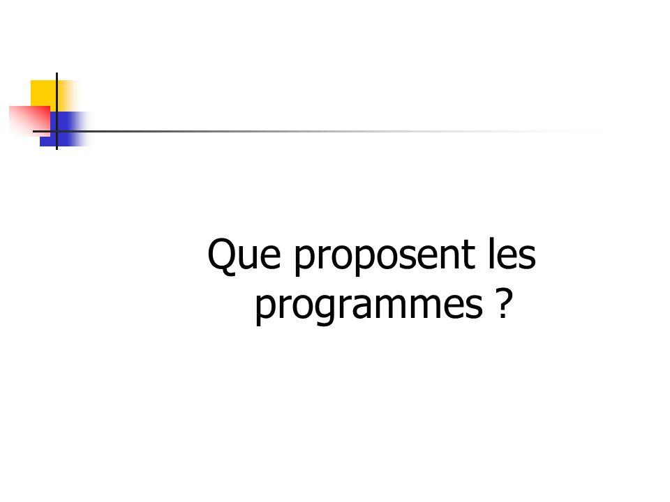 Que proposent les programmes