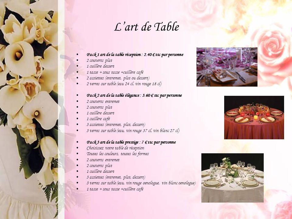 L'art de Table Pack 1 art de la table réception : 2.40 € ttc par personne. 2 couverts plat. 1 cuillère dessert.
