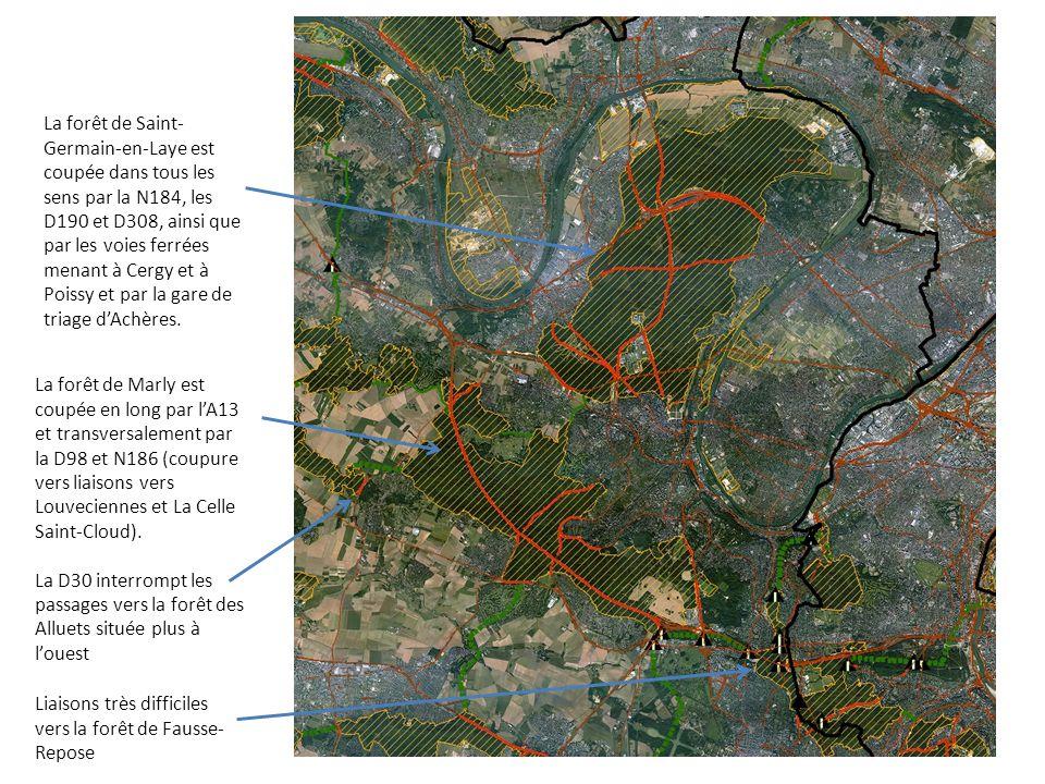 La forêt de Saint-Germain-en-Laye est coupée dans tous les sens par la N184, les D190 et D308, ainsi que par les voies ferrées menant à Cergy et à Poissy et par la gare de triage d'Achères.