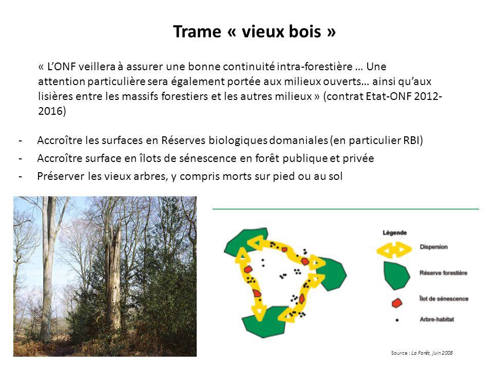 Trame « vieux bois » « L'ONF veillera à assurer une bonne continuité intra-forestière … Une.