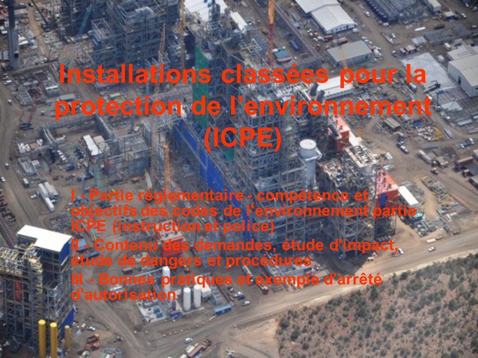 Installations classées pour la protection de l'environnement (ICPE)
