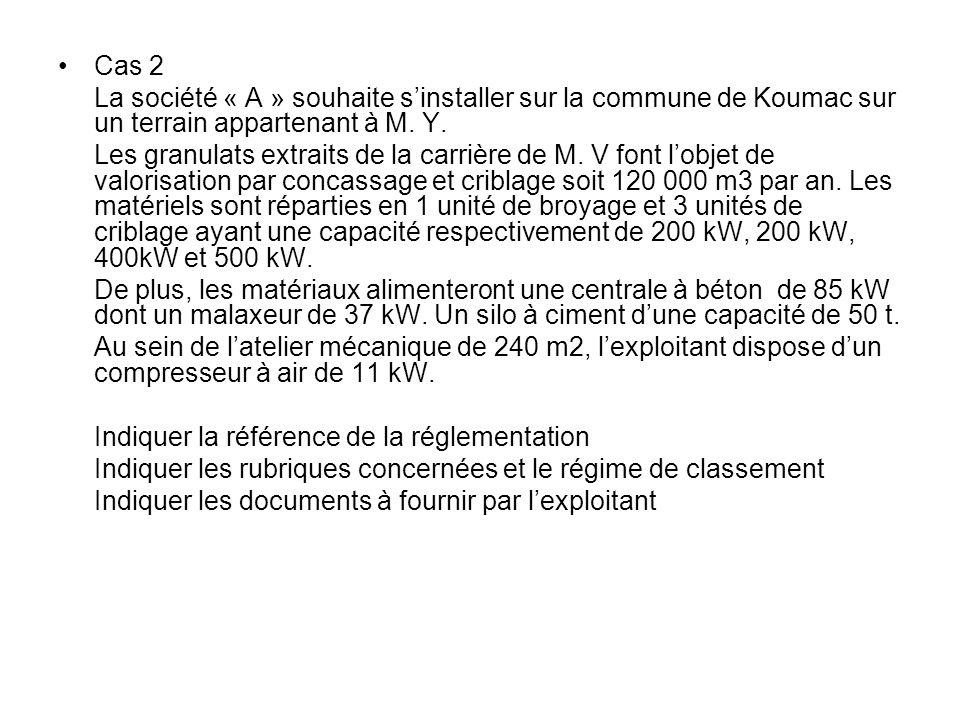 Cas 2 La société « A » souhaite s'installer sur la commune de Koumac sur un terrain appartenant à M. Y.