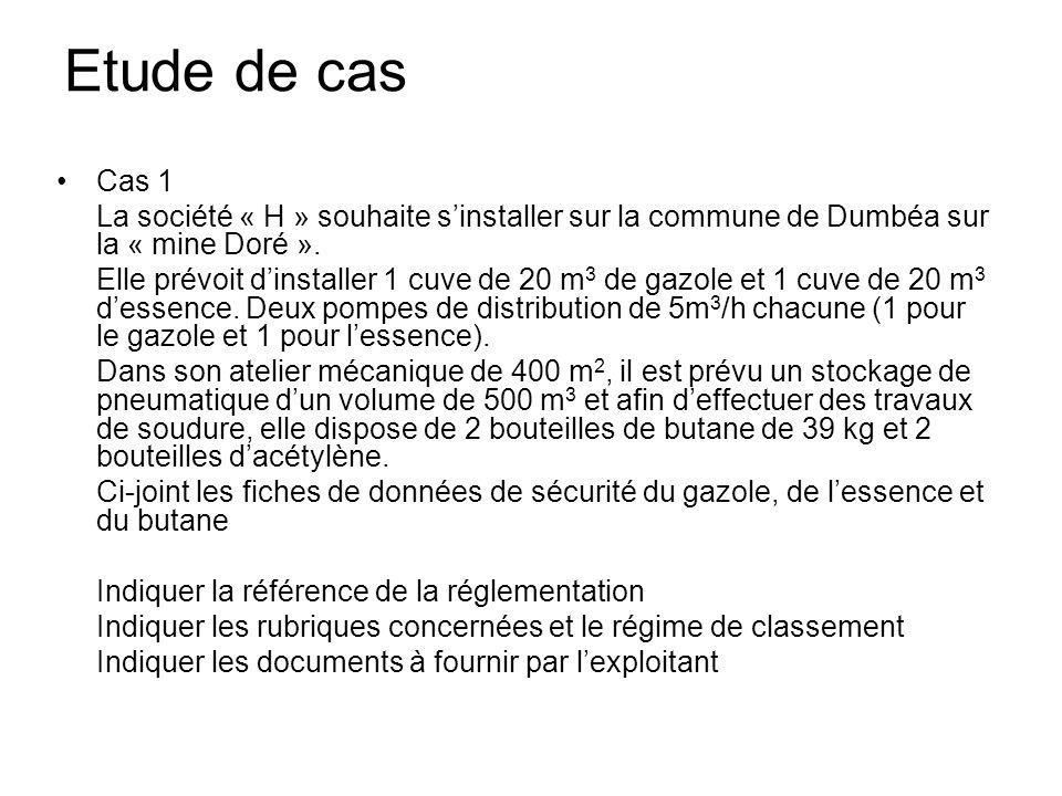 Etude de cas Cas 1. La société « H » souhaite s'installer sur la commune de Dumbéa sur la « mine Doré ».