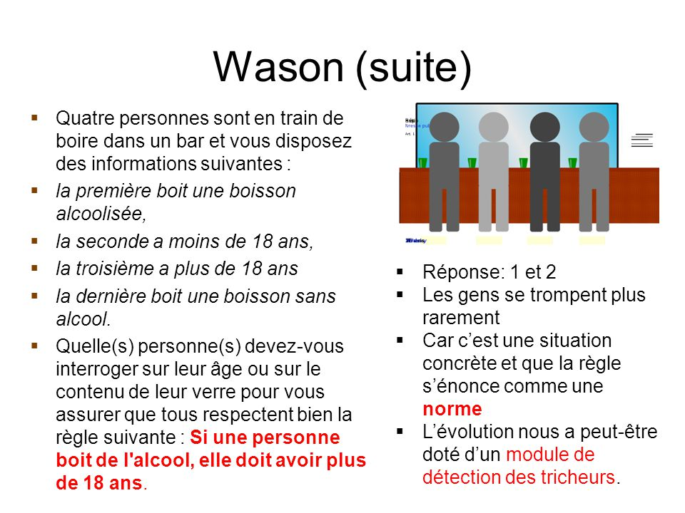 Wason (suite) Quatre personnes sont en train de boire dans un bar et vous disposez des informations suivantes :