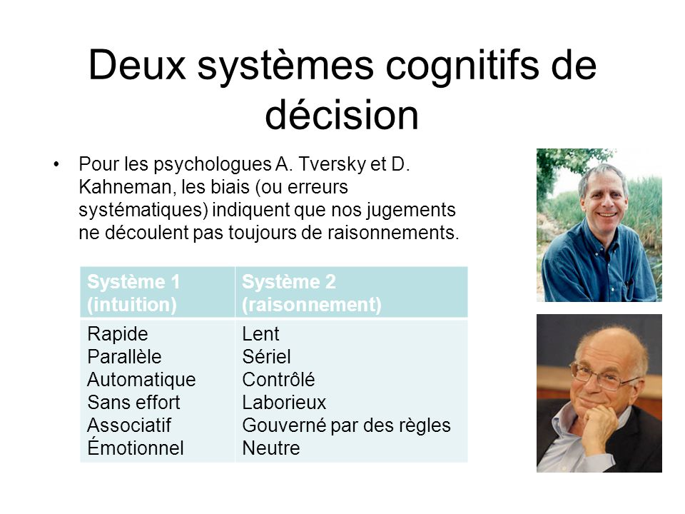 Deux systèmes cognitifs de décision