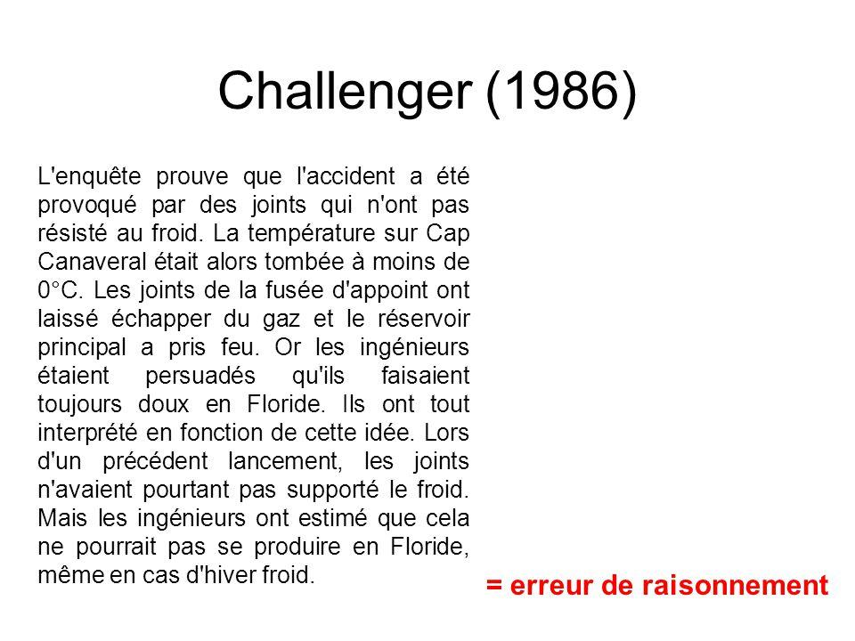 Challenger (1986) = erreur de raisonnement