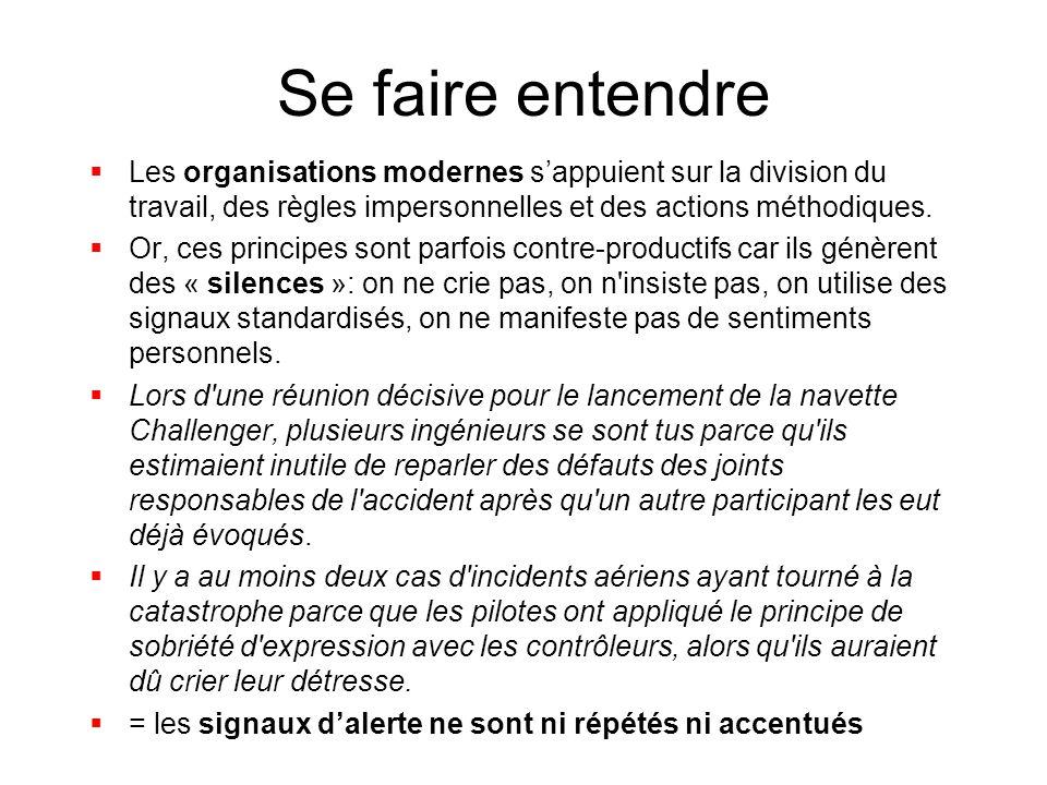 Se faire entendre Les organisations modernes s'appuient sur la division du travail, des règles impersonnelles et des actions méthodiques.