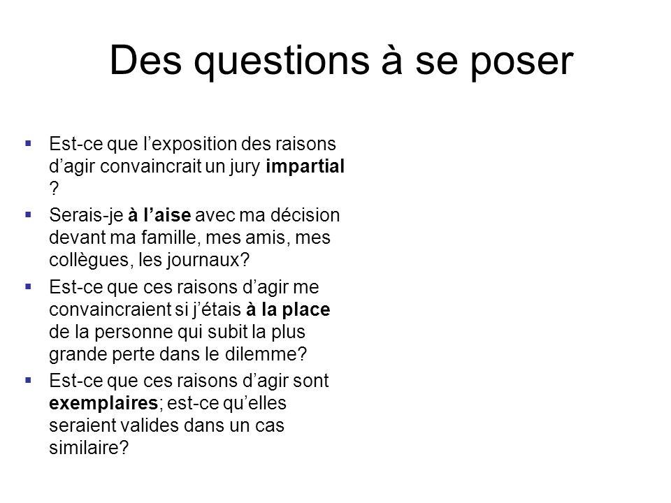 Des questions à se poser
