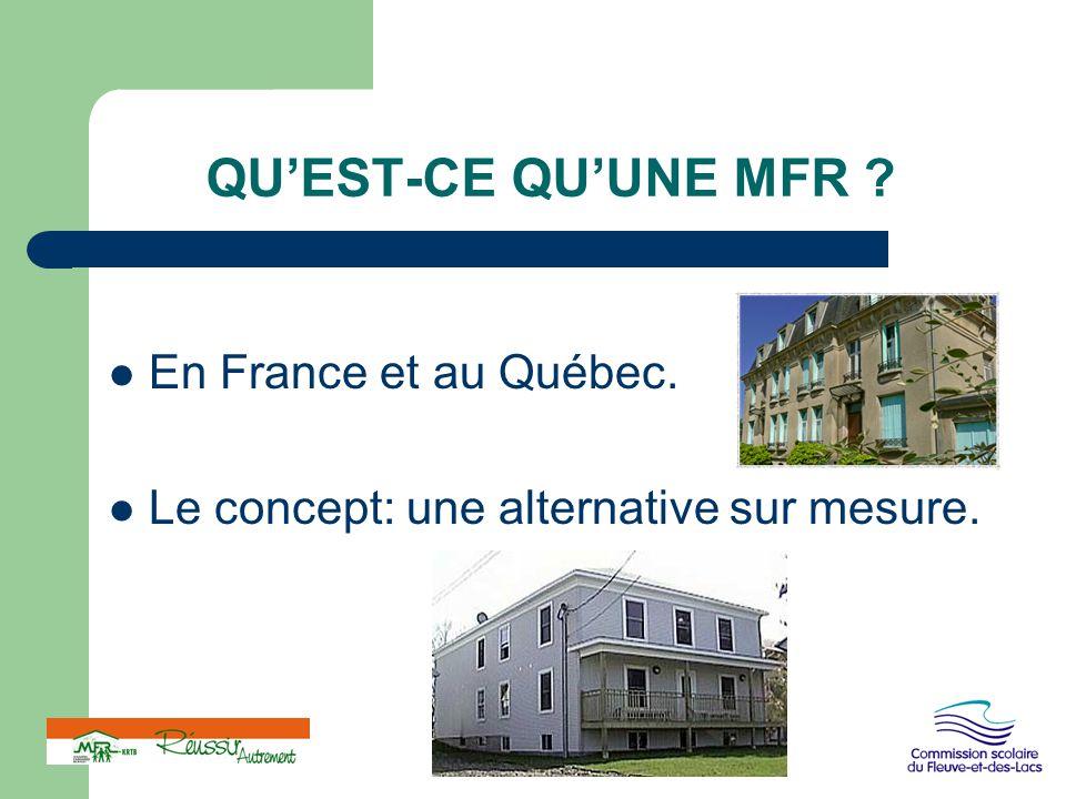 QU'EST-CE QU'UNE MFR En France et au Québec.