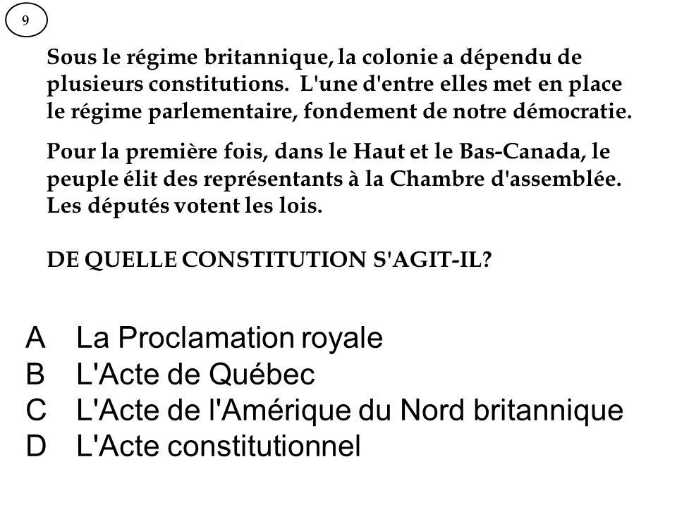 La Proclamation royale L Acte de Québec