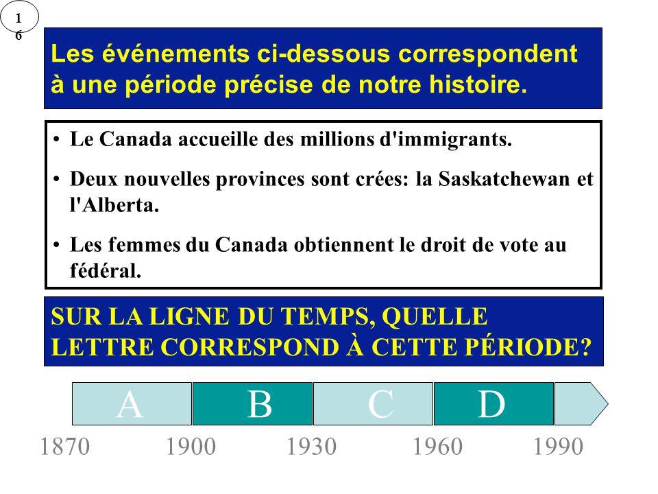 16 Les événements ci-dessous correspondent à une période précise de notre histoire. Le Canada accueille des millions d immigrants.