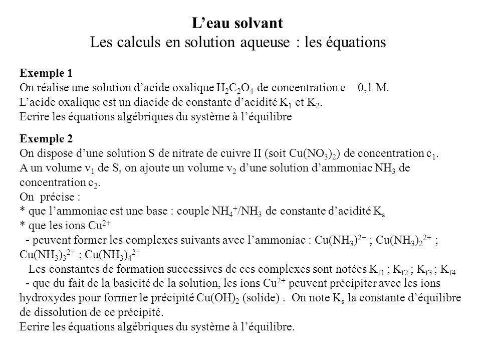 Les calculs en solution aqueuse : les équations
