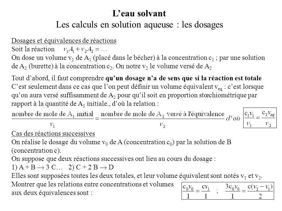 Les calculs en solution aqueuse : les dosages