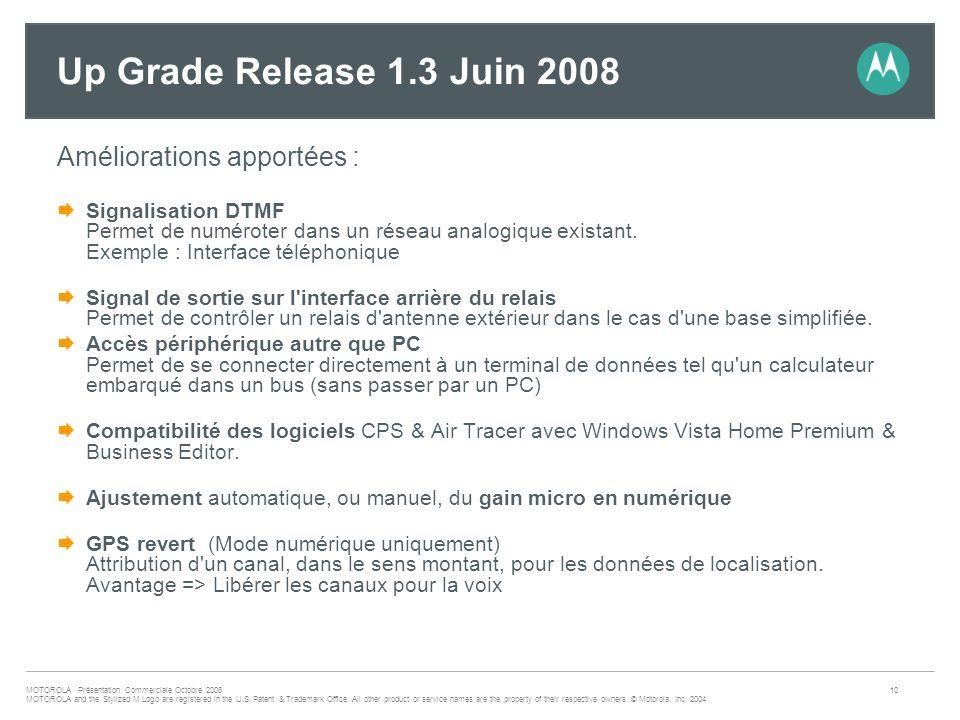 Up Grade Release 1.3 Juin 2008 Améliorations apportées :