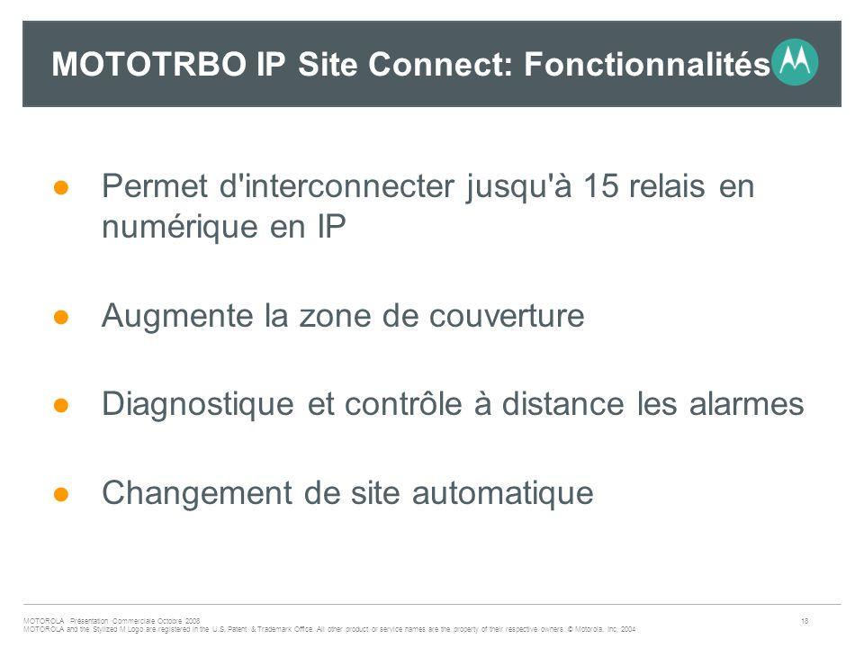 MOTOTRBO IP Site Connect: Fonctionnalités