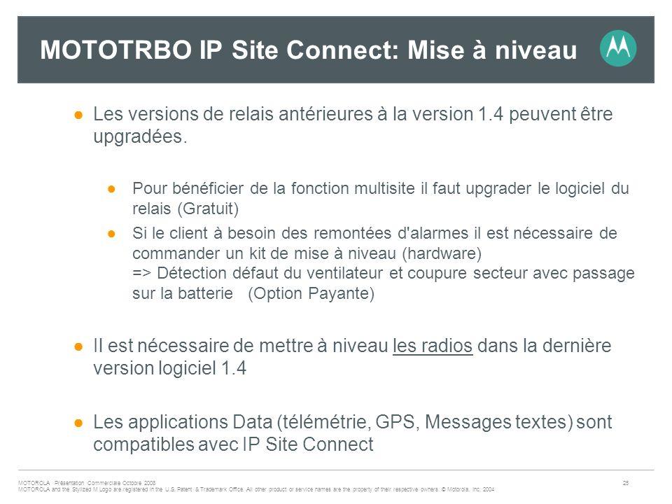 MOTOTRBO IP Site Connect: Mise à niveau