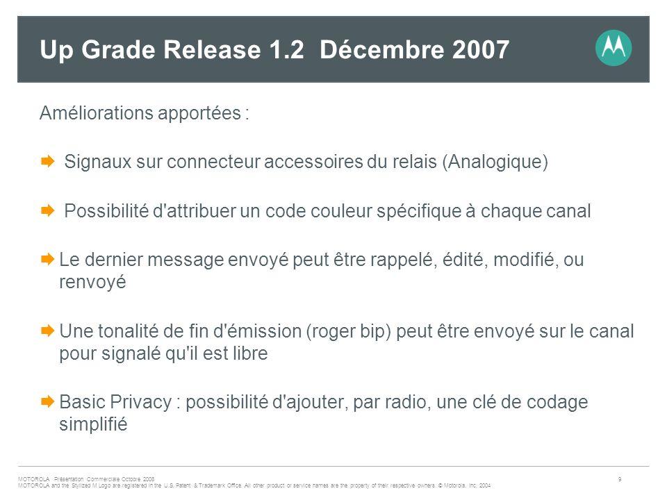 Up Grade Release 1.2 Décembre 2007
