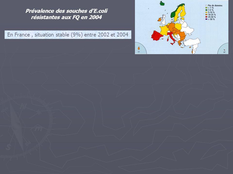 Prévalence des souches d'E.coli résistantes aux FQ en 2004