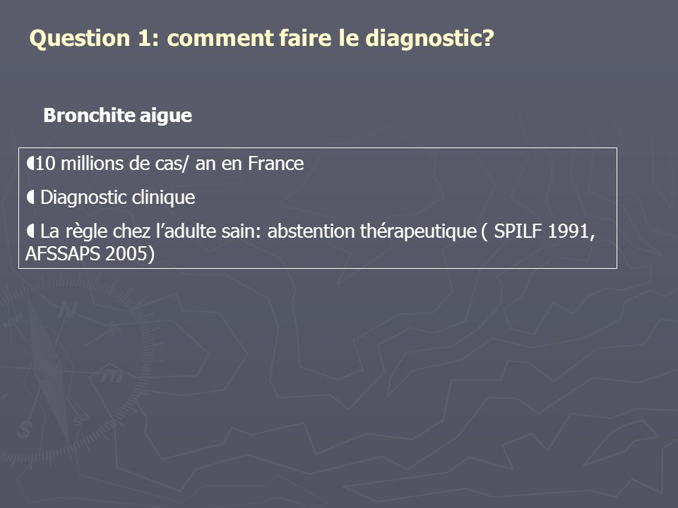 Question 1: comment faire le diagnostic