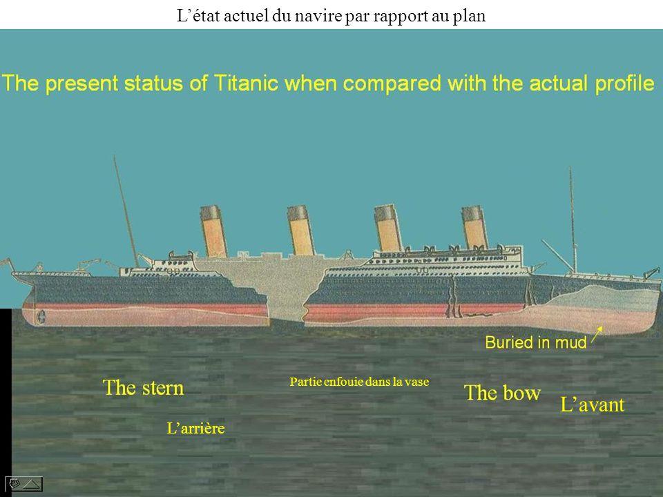 L'avant L'état actuel du navire par rapport au plan L'arrière