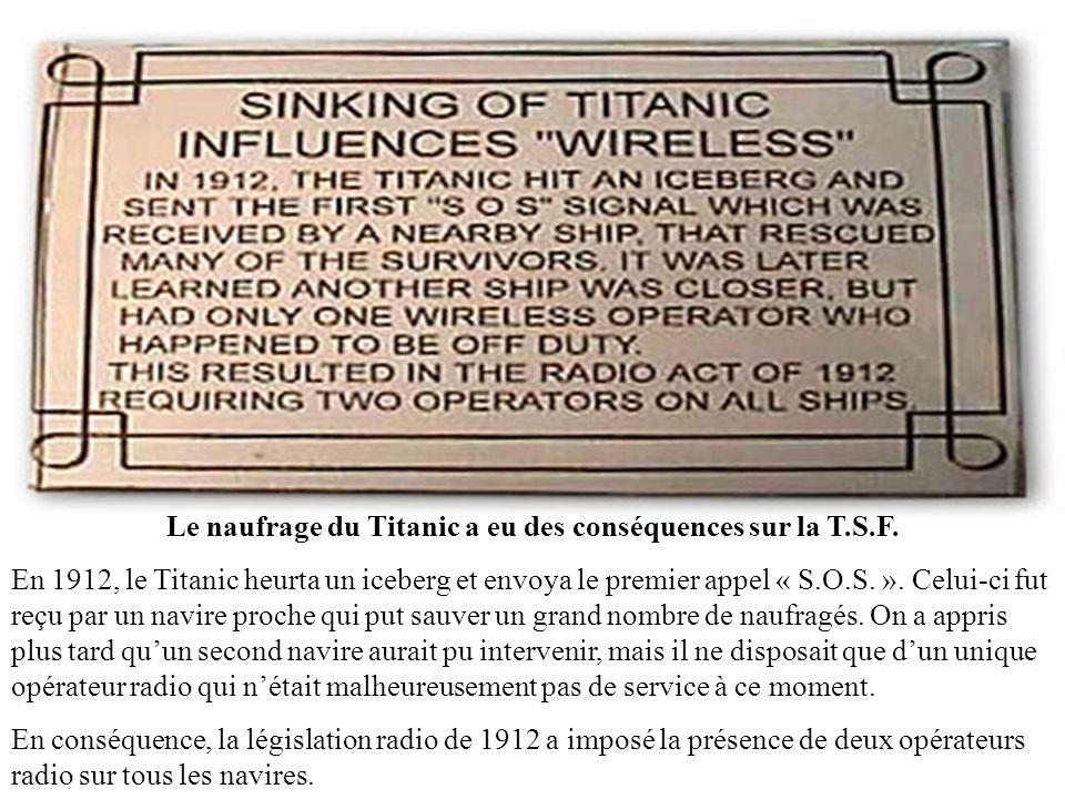 Le naufrage du Titanic a eu des conséquences sur la T.S.F.