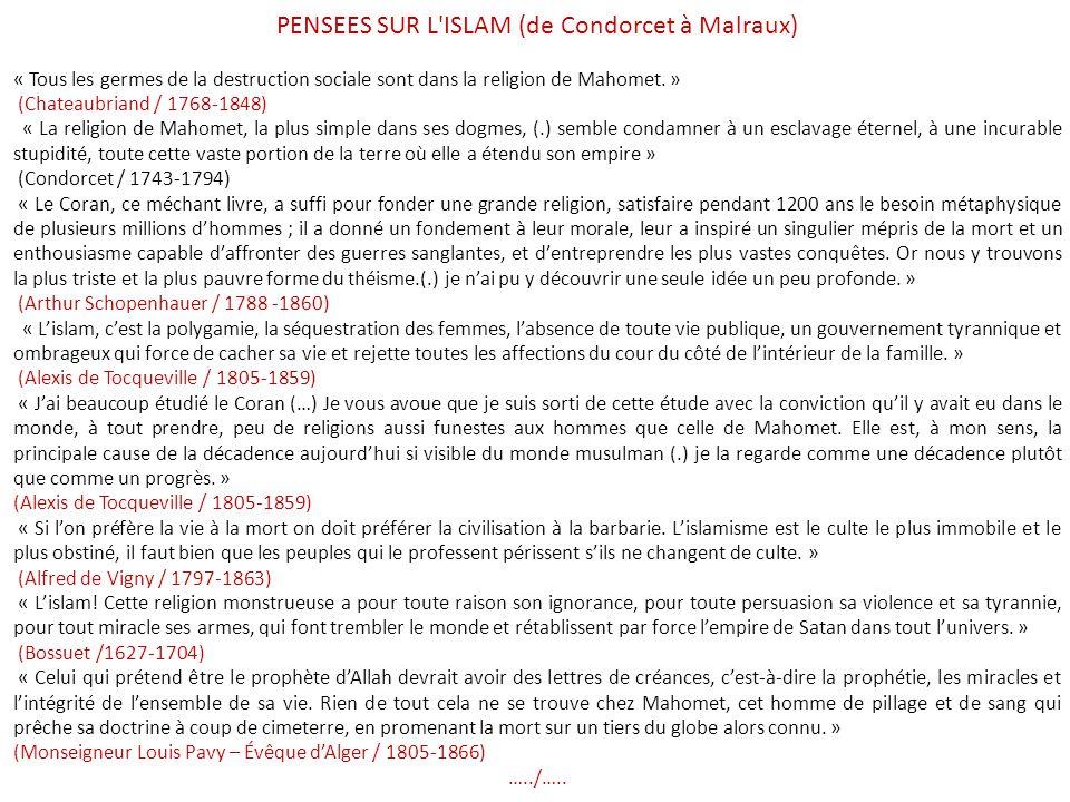 PENSEES SUR L ISLAM (de Condorcet à Malraux)
