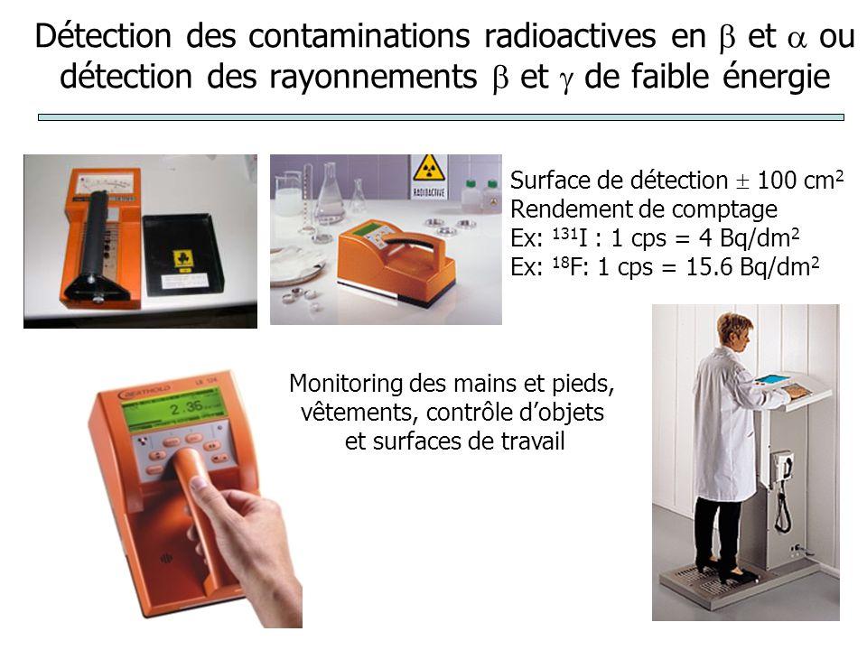 Détection des contaminations radioactives en  et  ou détection des rayonnements  et  de faible énergie