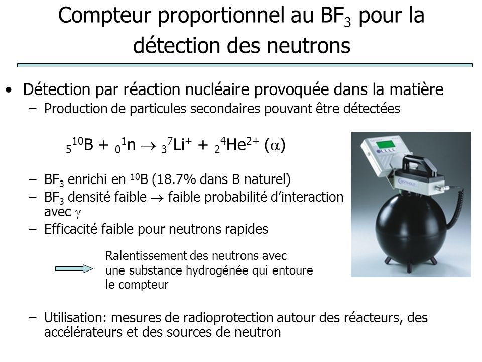 Compteur proportionnel au BF3 pour la détection des neutrons