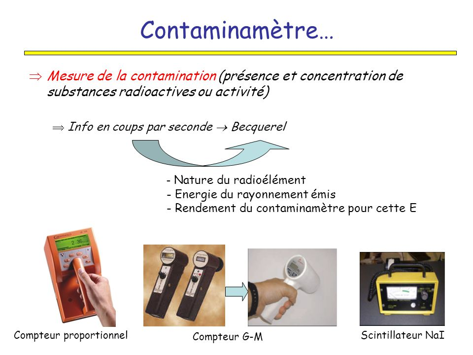 Contaminamètre… Mesure de la contamination (présence et concentration de substances radioactives ou activité)