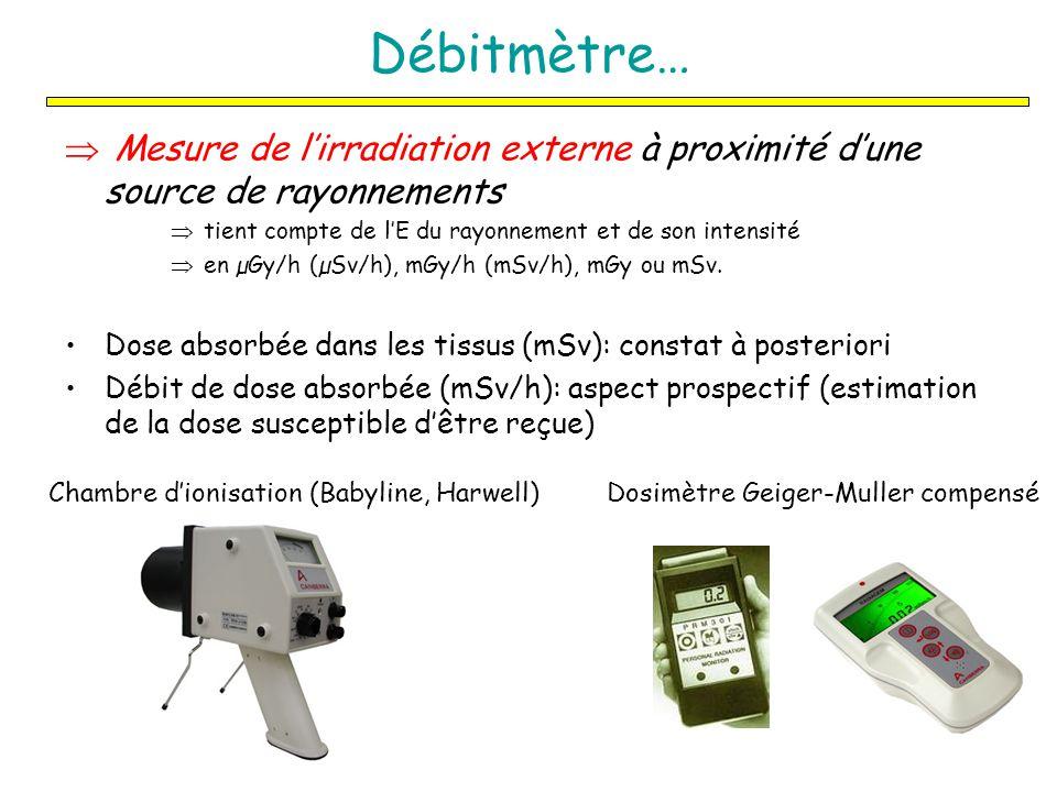 Débitmètre… Mesure de l'irradiation externe à proximité d'une source de rayonnements. tient compte de l'E du rayonnement et de son intensité.
