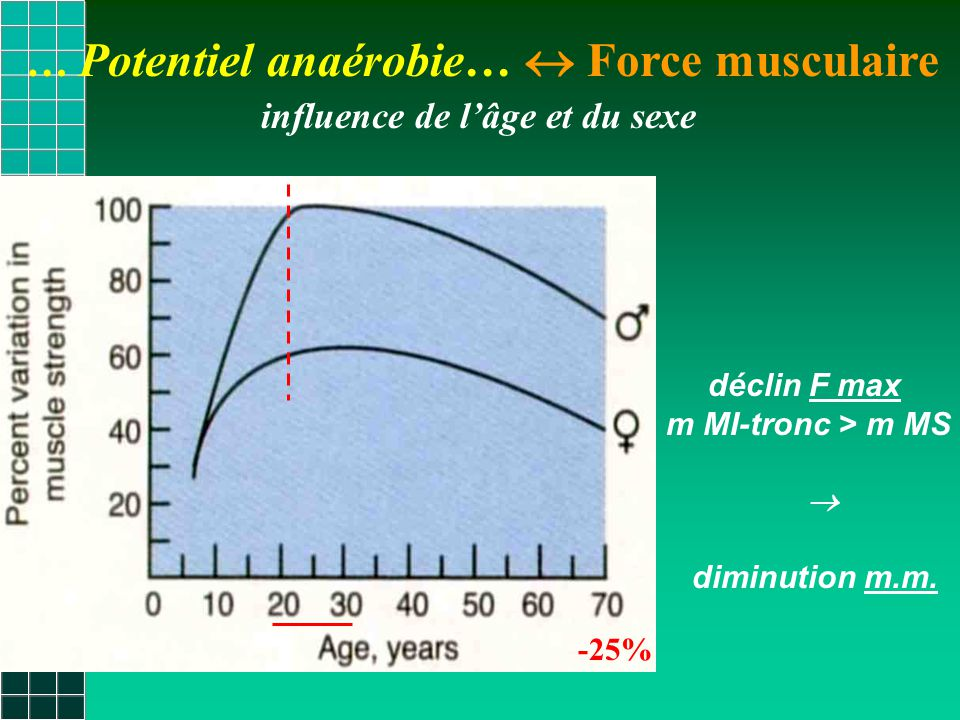 … Potentiel anaérobie…  Force musculaire