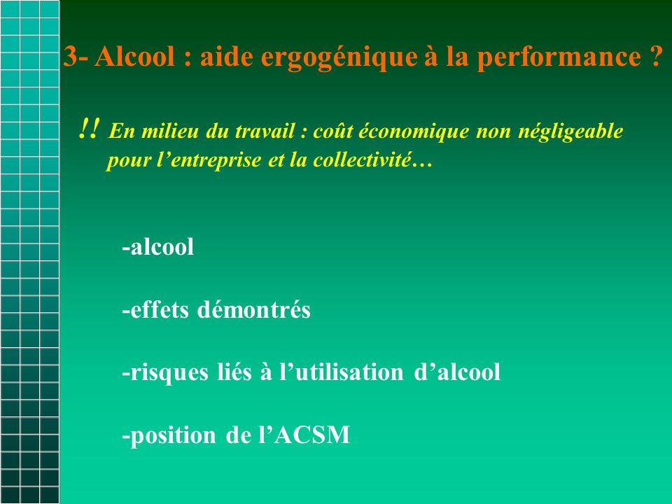 3- Alcool : aide ergogénique à la performance