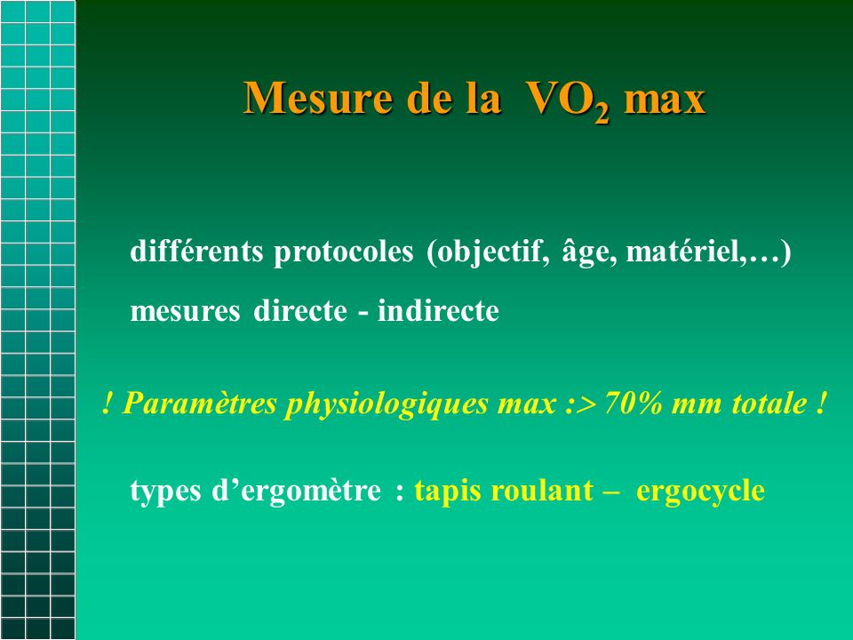 Mesure de la VO2 max différents protocoles (objectif, âge, matériel,…)