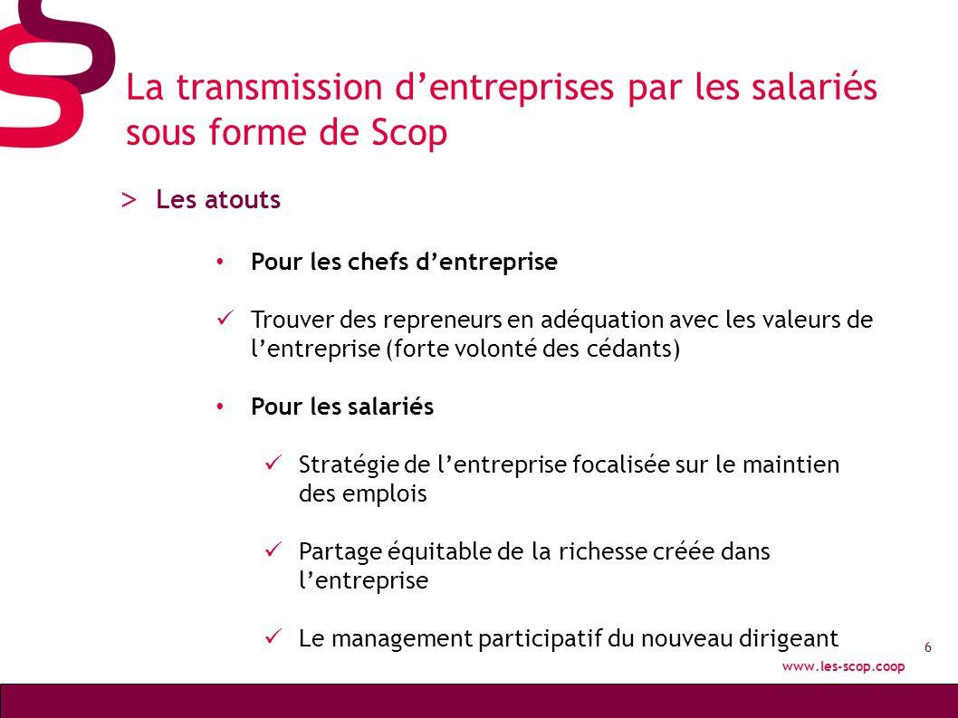 La transmission d'entreprises par les salariés sous forme de Scop
