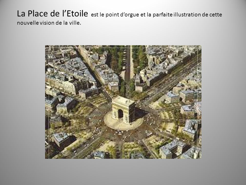 La Place de l'Etoile est le point d'orgue et la parfaite illustration de cette nouvelle vision de la ville.