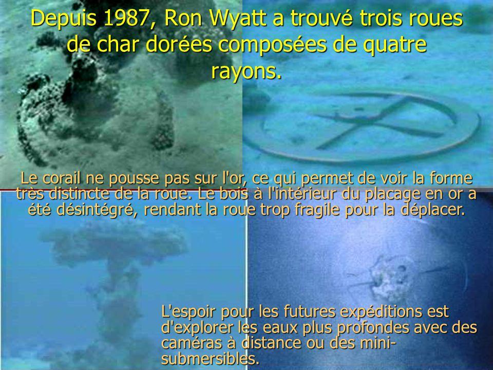 Depuis 1987, Ron Wyatt a trouvé trois roues de char dorées composées de quatre rayons.