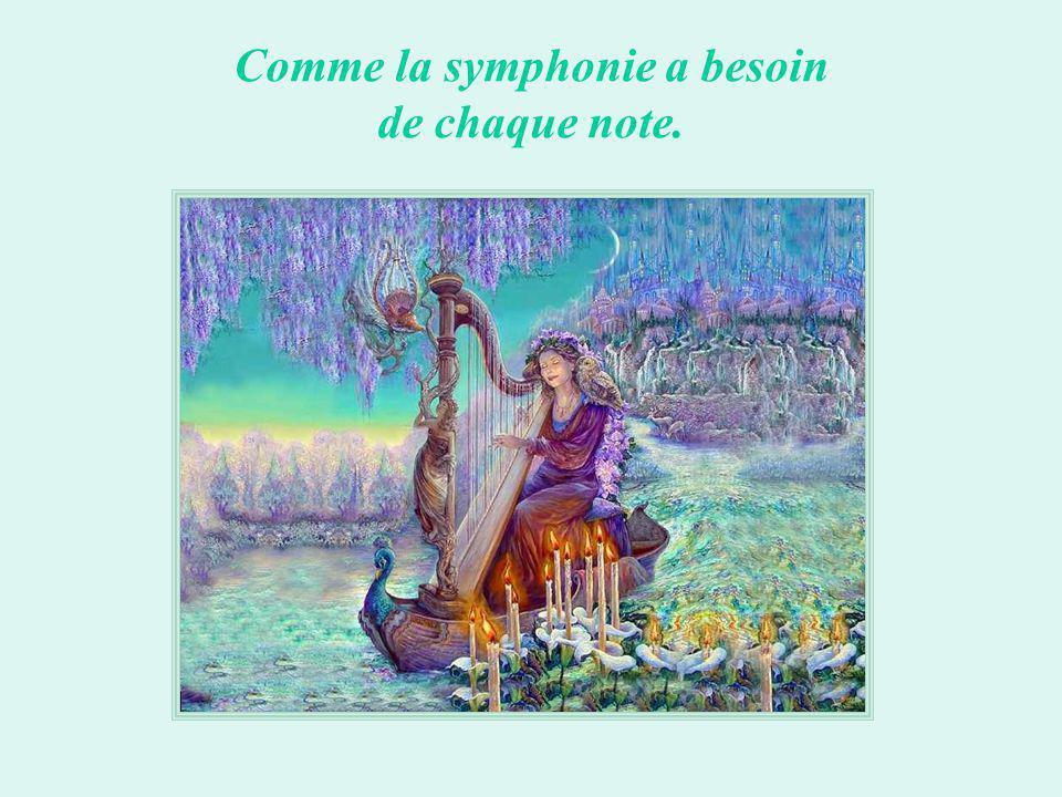 Comme la symphonie a besoin de chaque note.