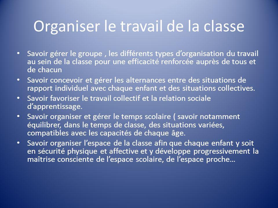 Organiser le travail de la classe